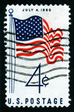 4th juli portostämpel USA Arkivbild