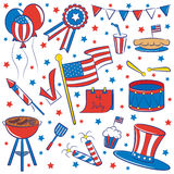 4th July. Doodle color objects on the independence day theme isolated on white background For more doodles visit my portfolio Royalty Free Stock Image