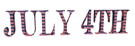 4th of July. A 3d image of 4th of July lettering textured with the stars and stripes Royalty Free Illustration