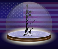 4th July. Statue of liberty in a ball background american flag stock illustration