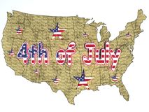 4th of July. On the U.S.A map Stock Photo
