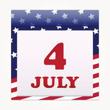 4th of july. American independence day calendar icon. Vector Royalty Free Stock Photography