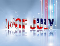 4th of July. Fourth of July dimensional reflective lettering blue background royalty free illustration