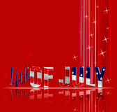 4th of July. Fourth of July dimensional reflective lettering red background vector illustration
