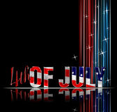 4th of July. Fourth of July dimensional reflective lettering black background royalty free illustration