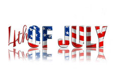 4th of July. Fourth of July dimensional reflective lettering white background royalty free illustration