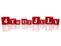 4th of July in 3d cubes. 3d red cubes with letters makes 4th of July vector illustration
