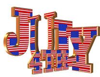 4th of July 3D text. Illustration, 3D text for 4Th of July background, design element, party invitation with patriotic stars and stripes vector illustration
