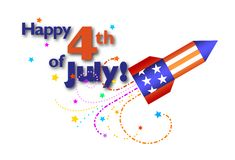 4th of July. Happy Fourth Of July! Type and skyrocket stock illustration