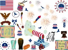 4Th July. Vector elements for 4Th July Stock Image