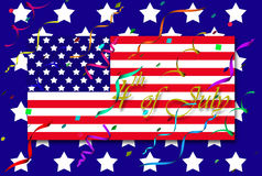 4th of July. Illustration with flag and confetti over background with stars royalty free illustration