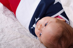4th of July Baby In A Basket Royalty Free Stock Image