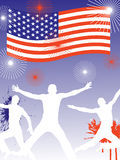4th july background. Illustration of jumping silhouettes on stars and stripes background Royalty Free Stock Photo
