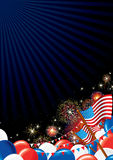 4th July Background. Festive Firework Display and American Symbols Stock Image
