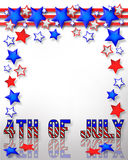 4th of July Background. Illustrated text and red white and blue design for Independence Day, July 4th stock illustration