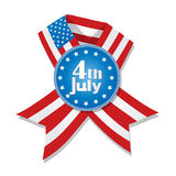 4th of July badge. And ribbon with flag of United States of America against white Stock Photo