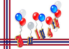 4th of July balloons graphic 3D. 3D Illustrated text and red white and blue balloons design for Independence Day, July 4th Royalty Free Stock Photography