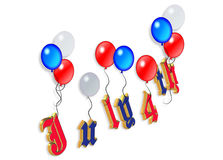 4th of July balloons graphic 3D. 3D Illustrated text and red white and blue balloons design for Independence Day, July 4th Stock Photos