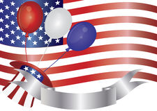 4th of July Balloons Illustration. Fourth of July Balloons Hat Banner and US Flag Illustration Stock Image