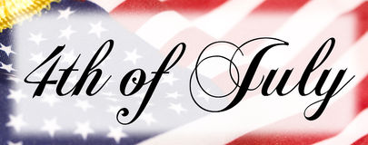 4th of July Banner. 4th of July black lettering banner with flag background Vector Illustration