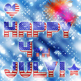 4th july bokeh celebration vector. Bokeh background with fireworks  showing happy 4th july with flag in vector format Royalty Free Stock Images