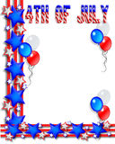 4th of July Border. Illustrated text and red white and blue stars, stripes and balloons design for Independence Day, July 4th, with copy space stock illustration