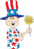 4th of July Boy. Cartoon image of a boy wearing a Uncle Sam hat holding a sparkler Royalty Free Stock Photo