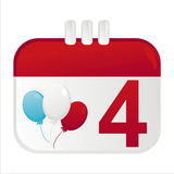 4th of july calendar icon. With air balloons royalty free illustration