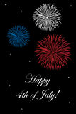 4th of July card. Illustration of a 4th of july card with fireworks on black background and stars.EPS file available Stock Photography
