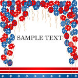 4th of july  card. Balloons and banner background for Independence day Stock Images