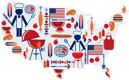 4th of July celebration; Flag with barbecue icons Stock Images