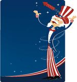 4th july celebration with uncle sam. 4th of july celebration with uncle sam and fireworks vector illustration
