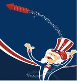 4th july celebration with uncle sam. 4th of july celebration with uncle sam and fireworks royalty free illustration