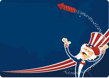 4th july celebration with uncle sam. 4th of july celebration with uncle sam and fireworks stock illustration