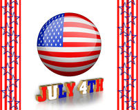 4Th of July clip art. And stars, stripes patriotic American borders for holiday greeting, invitation or stationery Royalty Free Stock Images
