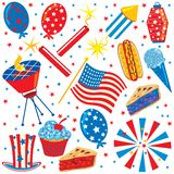 4th of July Clip art Party Elements. Collection of Patriotic American party elements Stock Illustration
