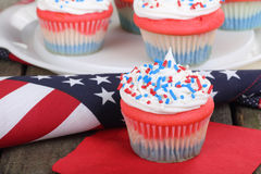 4th of July Cupcake. On a napkin with american flag Stock Photography