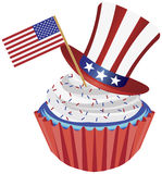 4th of July Cupcake with Flag and Hat Illustration. 4th of July Independence Day Red White and Blue Cupcake with USA Flags and Hat Illustration Royalty Free Stock Photo