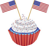4th of July Cupcake with Flag Illustration. 4th of July Independence Day Red White and Blue Cupcake with USA Flags Illustration stock illustration