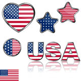 4th of july design elements. Collection of glossy design elements for Independence day Stock Photography