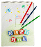 4th of July Drawing and Blocks Royalty Free Stock Photo