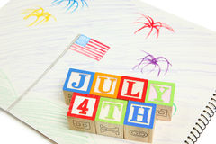 4th of July Drawing and Blocks Royalty Free Stock Images