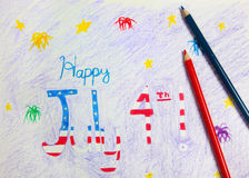 4th of July Drawing and Crayons Royalty Free Stock Photo