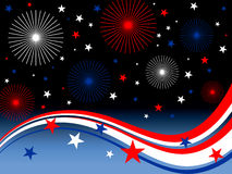 4th july fireworks. Illustration of stars, stripes and fireworks Royalty Free Stock Images
