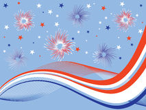 4th july fireworks. Illustration of stars, stripes and fireworks Royalty Free Stock Photography