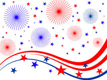 4th july fireworks. Illustration of stars, stripes and fireworks Stock Photos