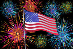 4th of July Fireworks. Illustration of fireworks behind the flag of USA Royalty Free Stock Photos