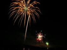 4th of July Fireworks. Pyrotechnics celebrating the American Independence Day, or Chinese New Year royalty free stock photography
