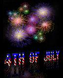 4th Of July Fireworks on Black Royalty Free Stock Photo