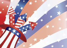 4th of July Fireworks in Hat Illustration Royalty Free Stock Photography